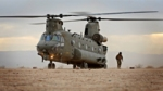 A Chinook helicopter from18 (B) Squadron practising desert landing during Exercise Vortex Warrior