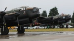 The RAF Lancaster 'Thumper' (Foreground) with the Canadian Lancaster 'Vera' (background) at RAF Coningsby, Lincolnshire.