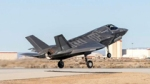 One of the UK's F35 jets arrives at Edwards Air Force Base in the USA on 13 January 2015.